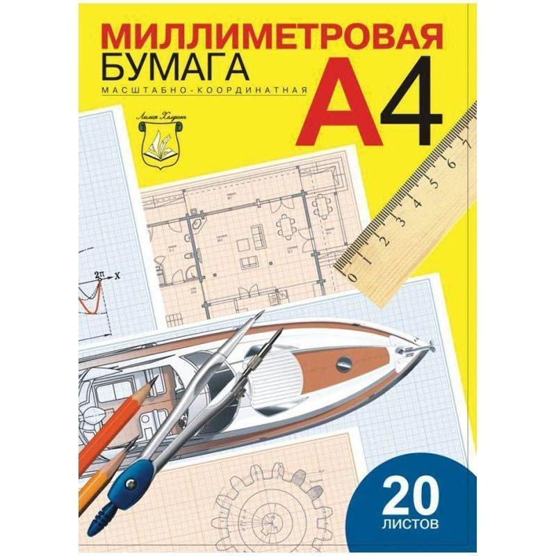 Бумага масштабно-координатная А4 20л в папке синяя