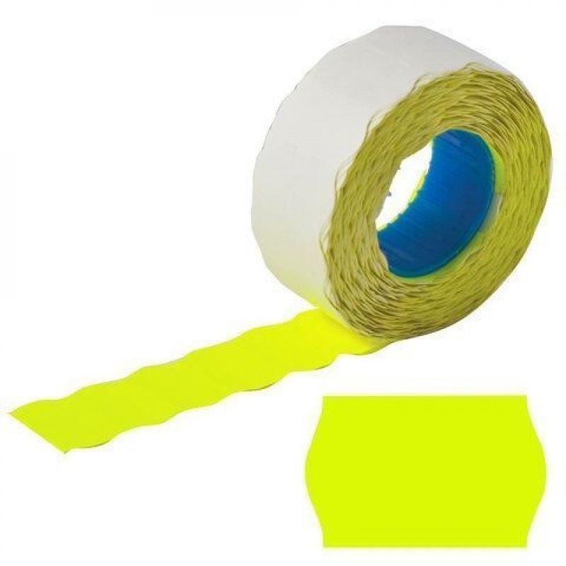 Этикет-лента 22x12мм волна желтая