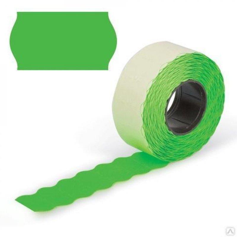 Этикет-лента 26x12мм волна зеленая