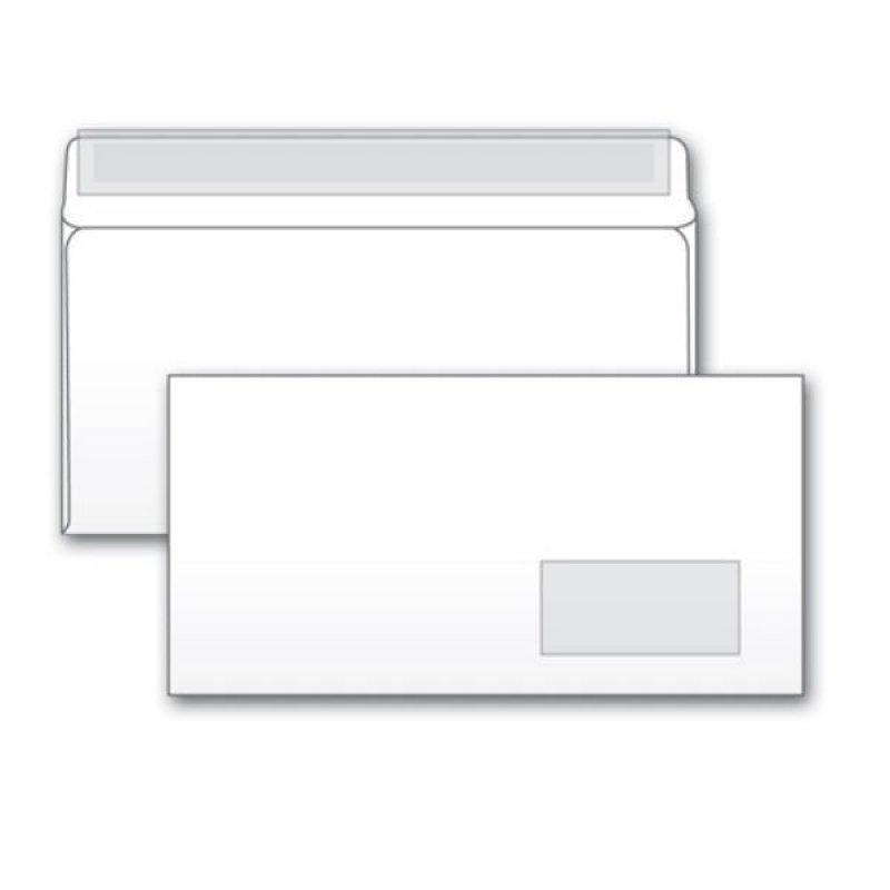 Конверт Е65 (Евро 110х220мм) правое окно белый с отрывной полосой