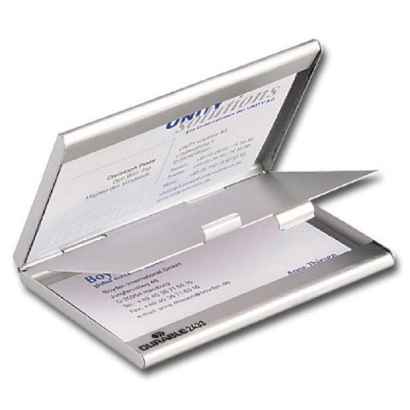 Визитница карманная 20 карточек Durable 2отд алюминиевая