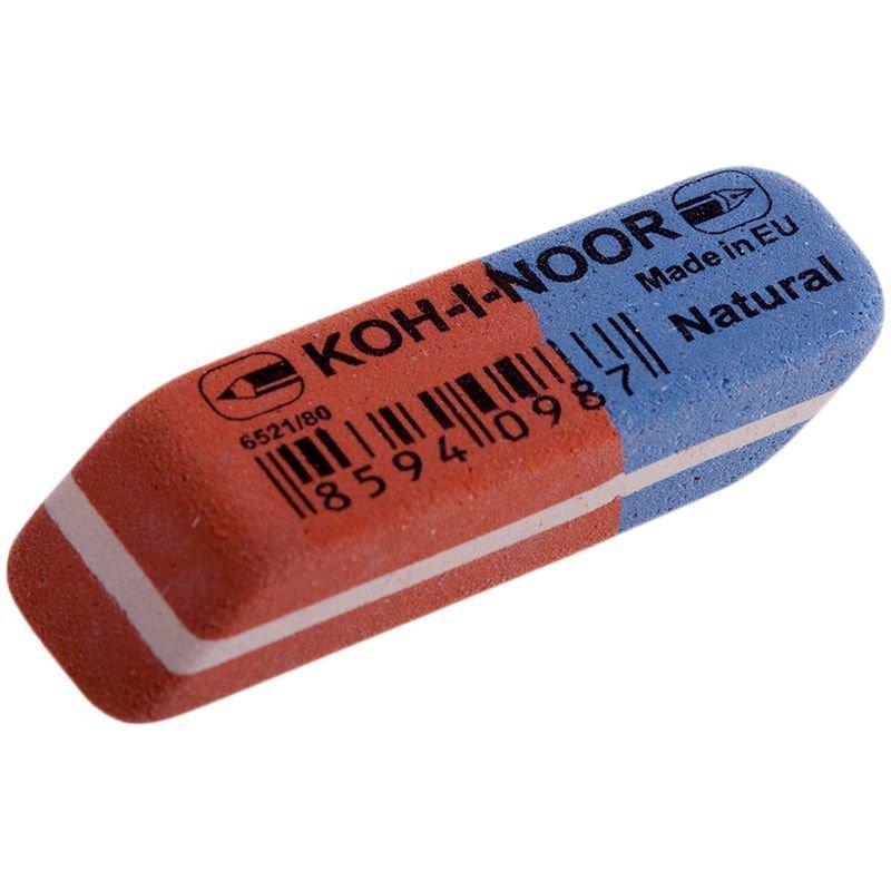 Ластик Koh-i-Noor Blue Star 6521/80 41х14х8мм натуральный каучук прямоугольный красно-синий