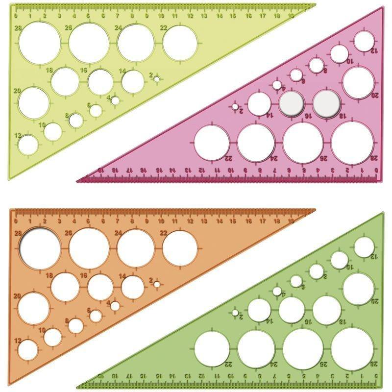 Треугольник 19см 30град Стамм с окружностями прозрачный ассорти