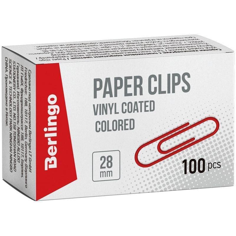 Скрепки 28мм Berlingo 100шт/уп пласт покрытие цветные  карт коробка