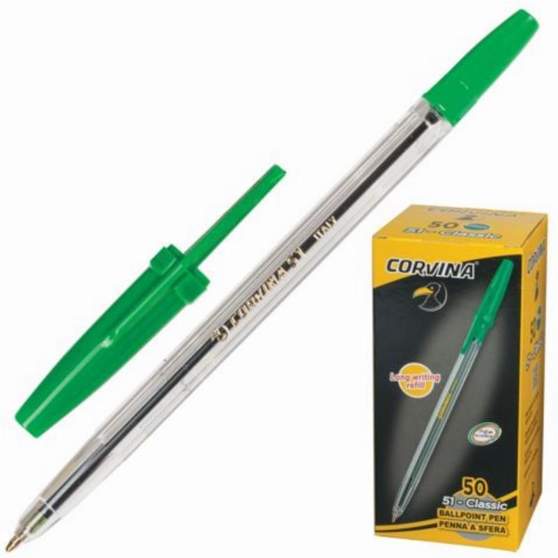 Ручка шариковая Corvina 51 Classic 1мм прозрачный корпус зеленая
