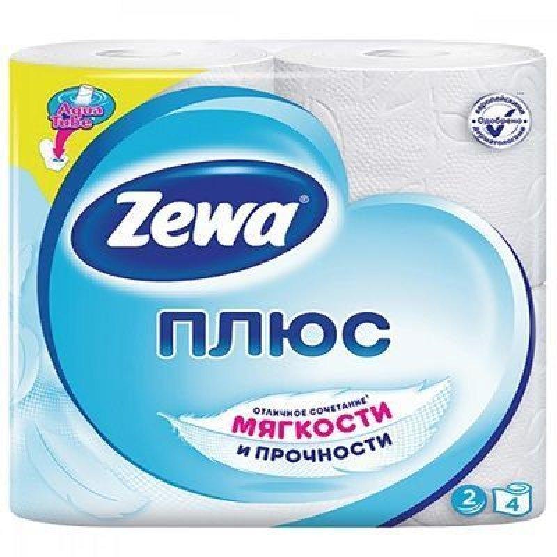 Бумага туалетная Zewa Plus 2-сл 4шт/уп белая