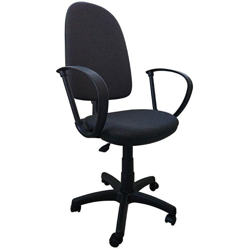 Кресло для оператора Престиж с подлокотниками ткань черное