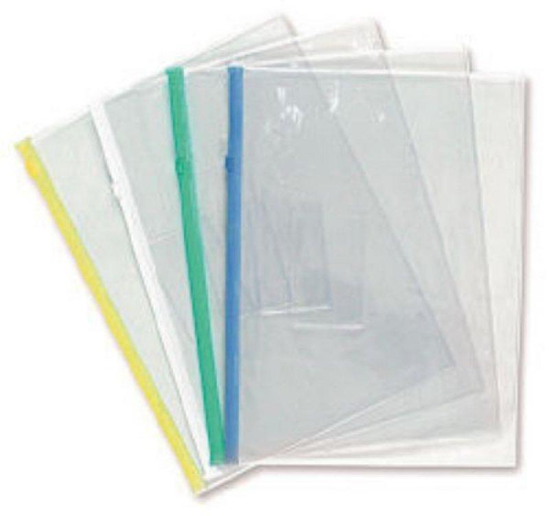 Папка-конверт на молнии А4 Бюрократ карман для визитки ассорти