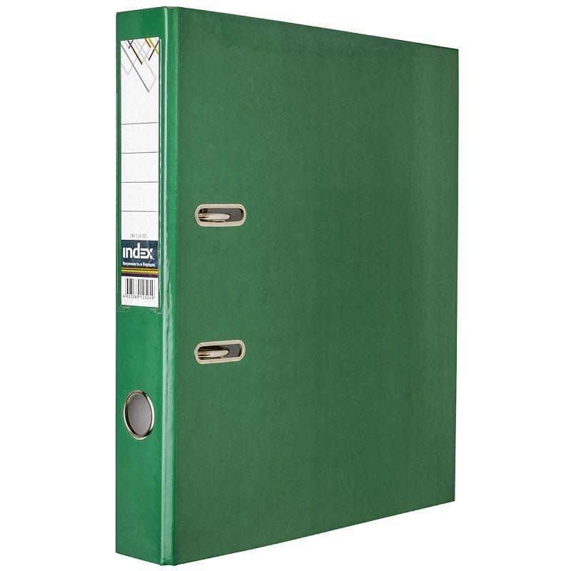 Папка-регистратор 50мм Index ламинированная карман темно-зеленая