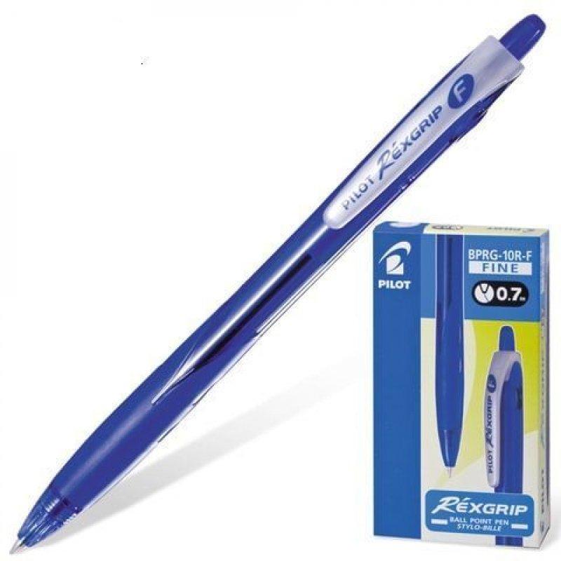 Ручка шариковая автомат Pilot Rex Grip 0,7мм резиновый держатель тонированный корпус синяя