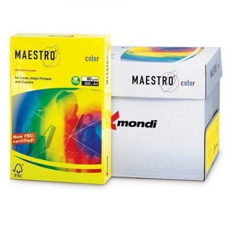 Бумага IQ/Maestro Color А4 80г/м2 500л неон желтая