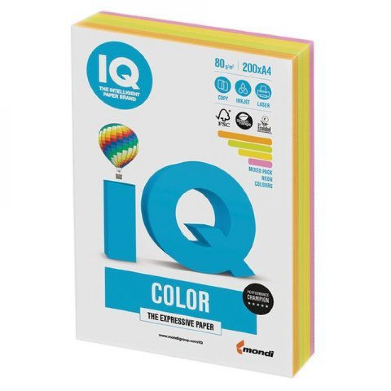 Бумага IQ/Maestro Color А4 80г/м2 200л микс (4цв.х50л) неон