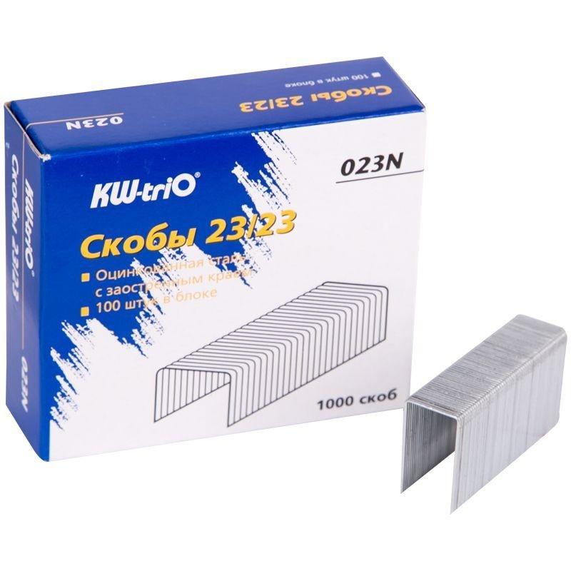 Скобы для степлера №23/23 KW-trio 1000шт/уп оцинкованные до 190 листов