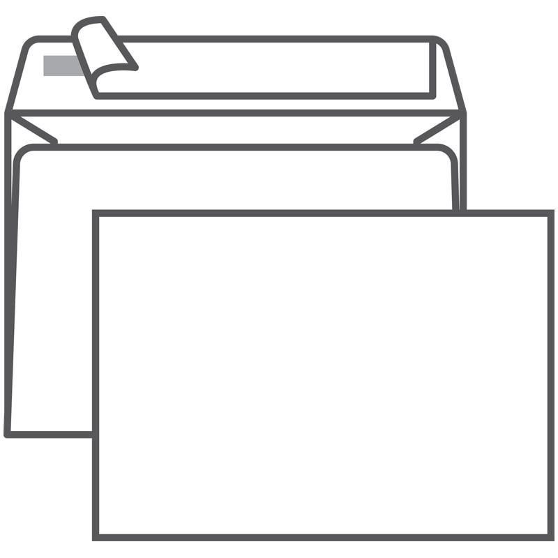 Конверт С6 (114х162мм) белый с отрывной полосой