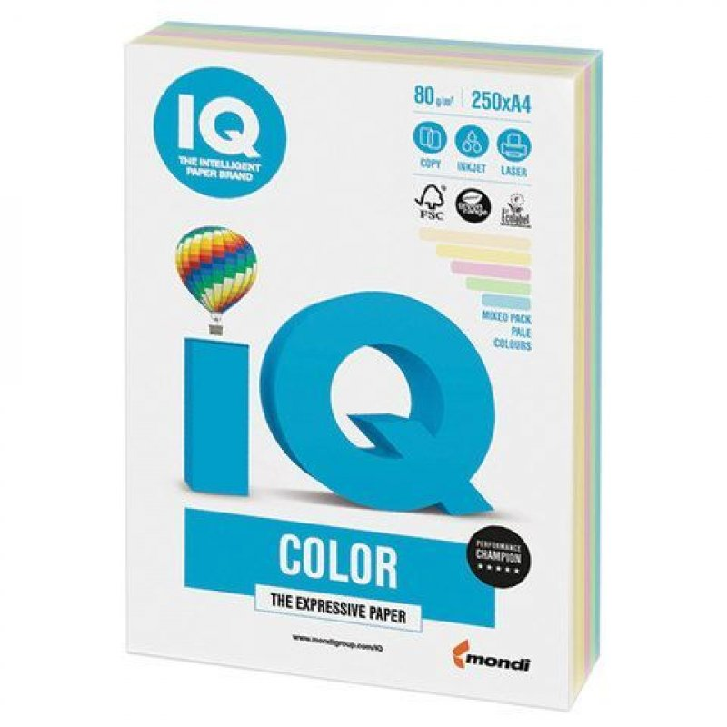 Бумага IQ/Maestro Color А4 80г/м2 250л микс (5цв.х50л) пастель