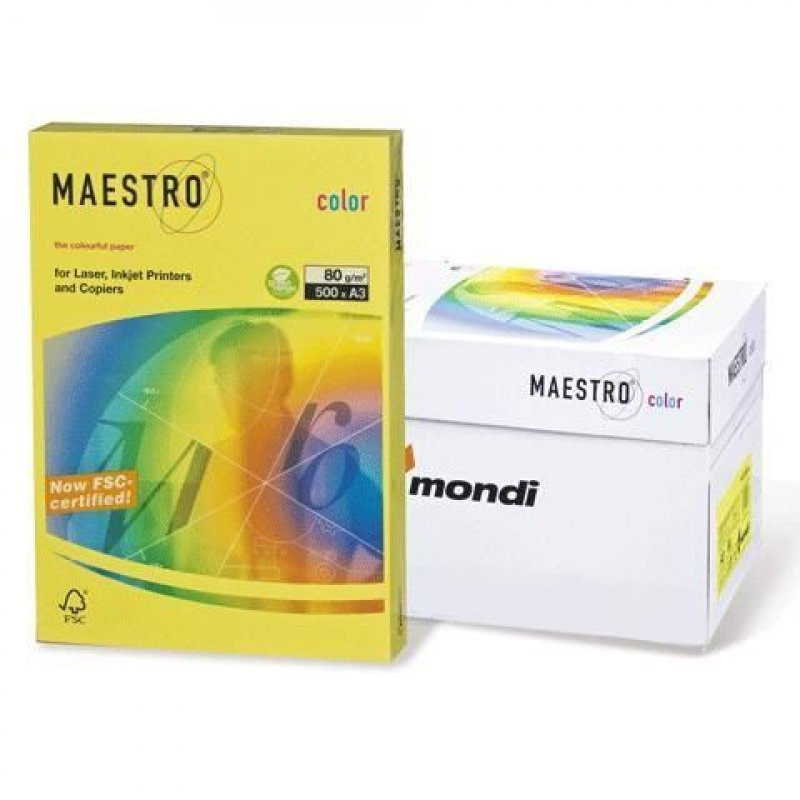 Бумага IQ/Maestro Color А3 80г/м2 500л желтая