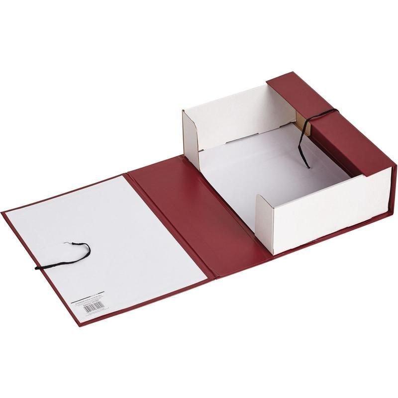 Короб архивный 100мм 2 завязки 900л бумвинил красный 330х240х100мм Attache