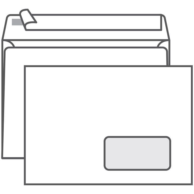 Конверт С5 (162х229мм) правое окно белый с отрывной полосой