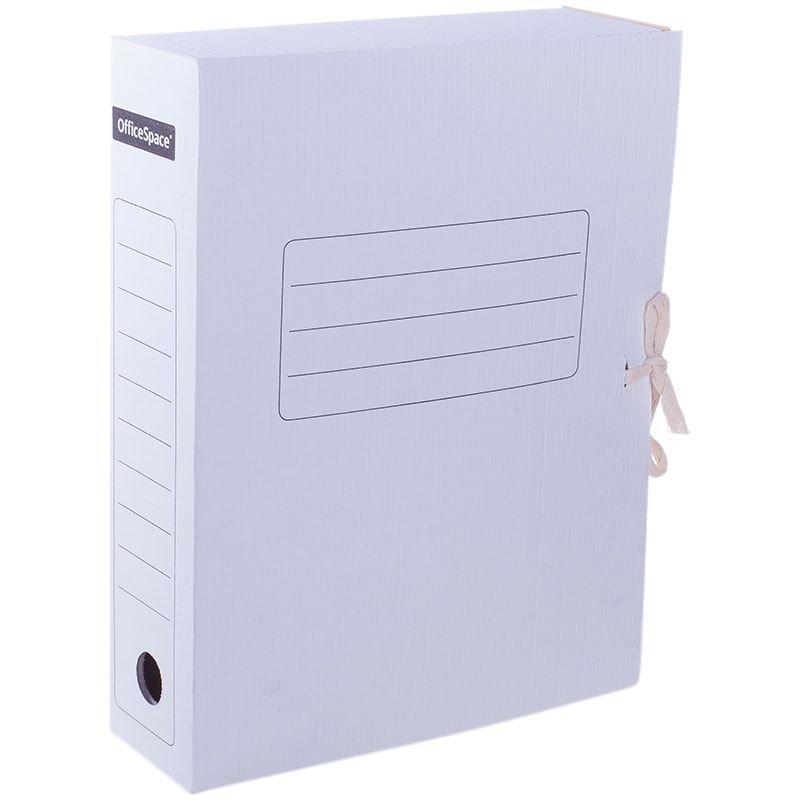 Короб архивный 75мм 700л 2 завязки микрогофрокартон белый 320х250х75мм OfficeSpace