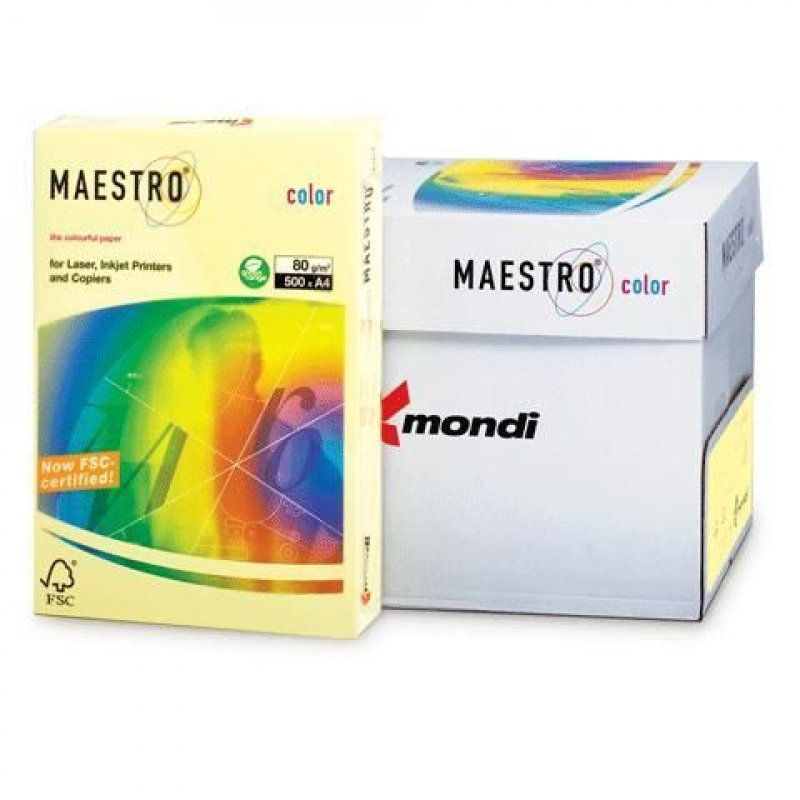 Бумага IQ/Maestro Color А4 80г/м2 500л желтая
