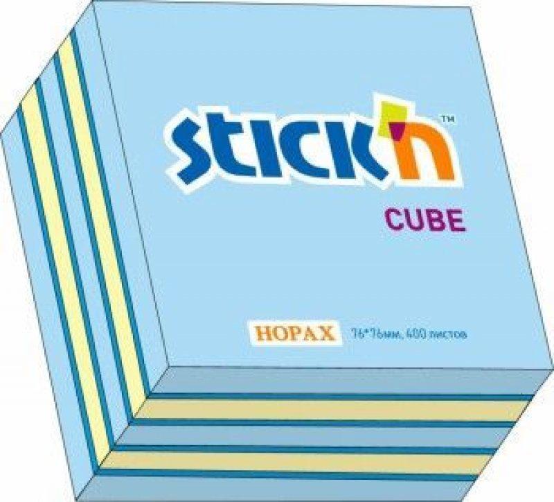 Блок для записей самоклеящийся 76х76мм Hopax 400л неон-пастель 3 цвета