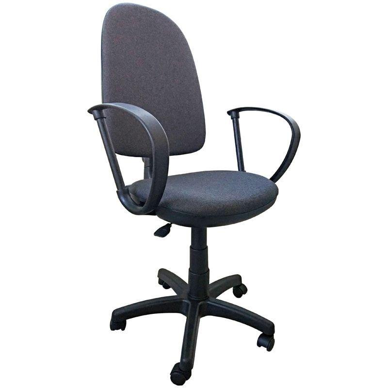 Кресло для оператора Престиж с подлокотниками ткань серое