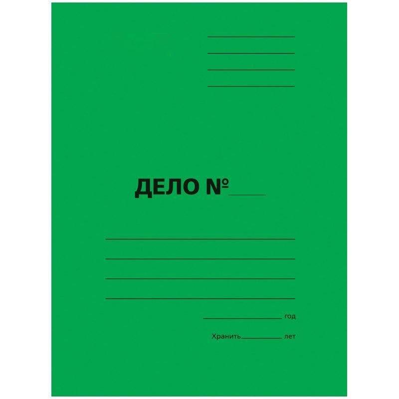 Папка картонная скоросшиватель Дело 300г/м2 зеленая мелованный картон