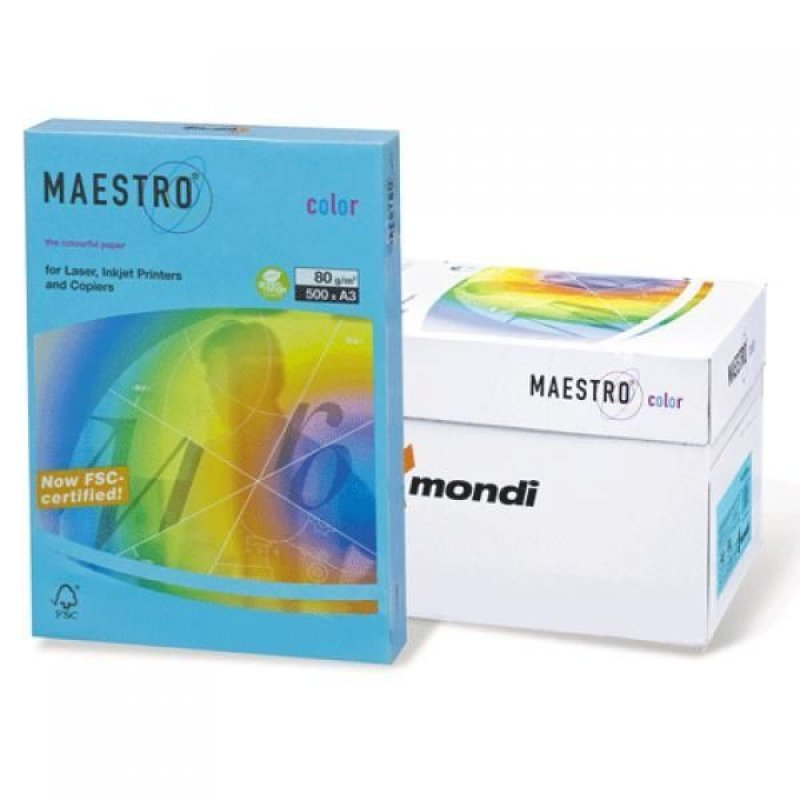 Бумага IQ/Maestro Color А3 160г/м2 250л голубая