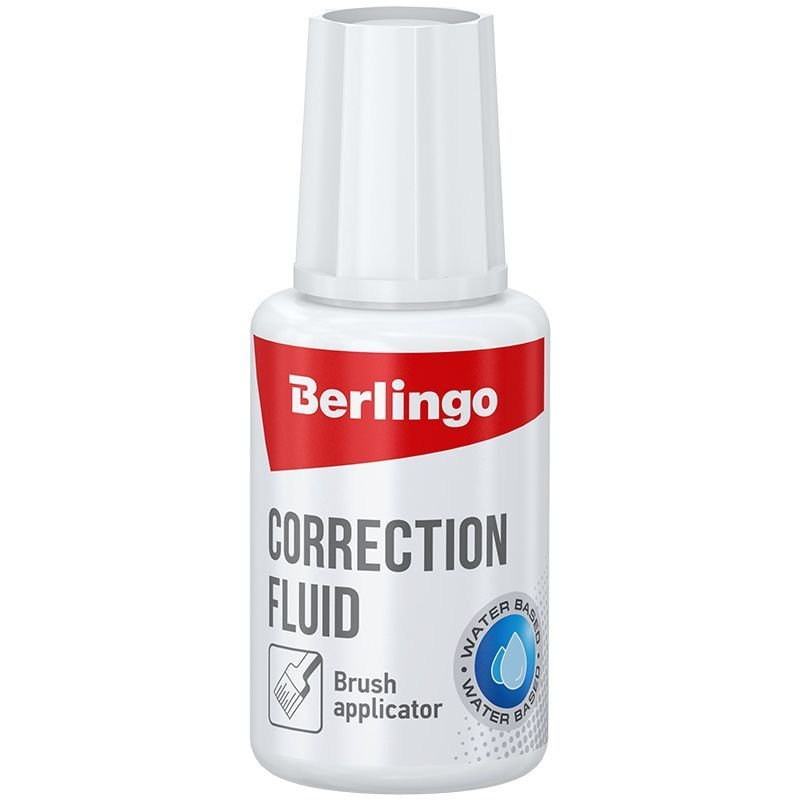 Корректирующая жидкость Berlingo 20мл на водной основе с кисточкой