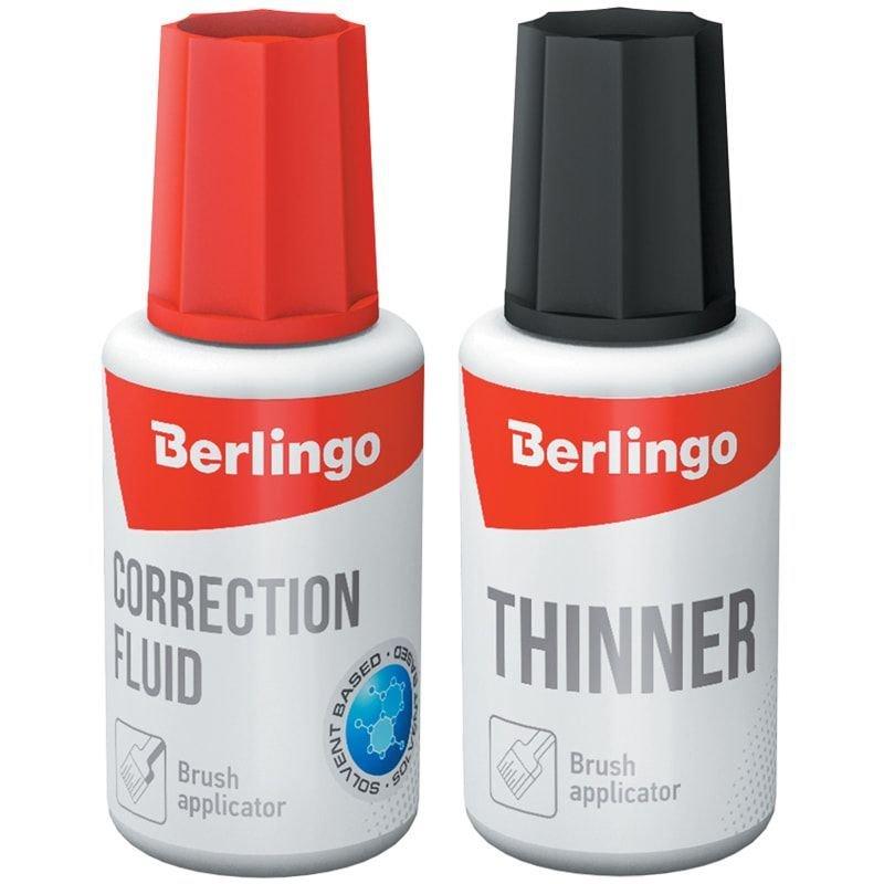 Набор Berlingo корректирующая жидкость 20мл на спиртовой основе с кисточкой + разбавитель 20мл