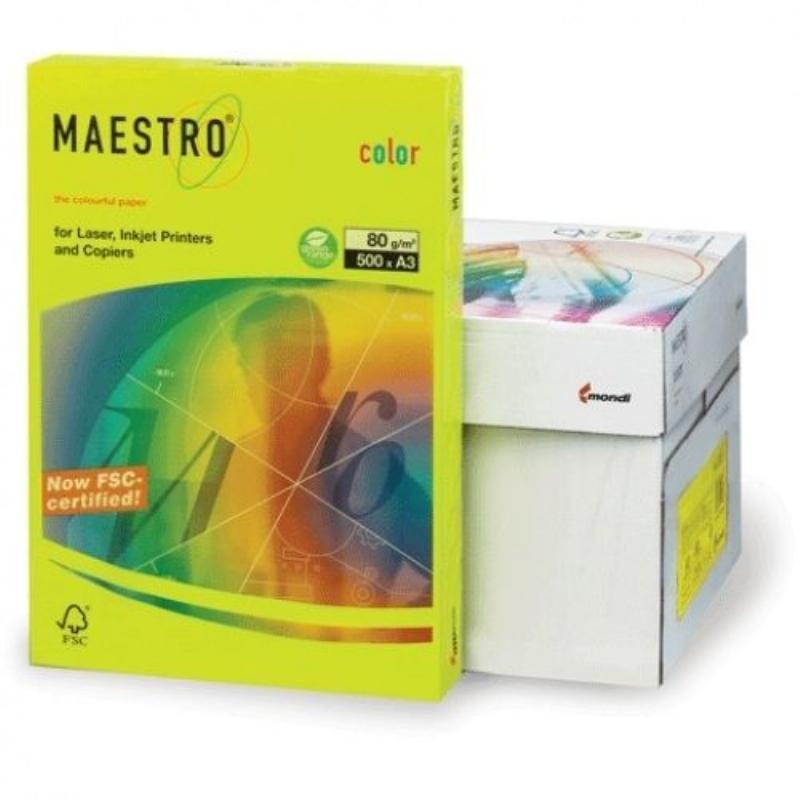 Бумага IQ/Maestro Color А3 80г/м2 500л неон зеленая