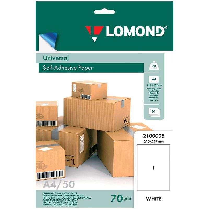 Бумага самоклеящаяся А4 210*297 мм,белая 70г/м2 50л/уп Lomond