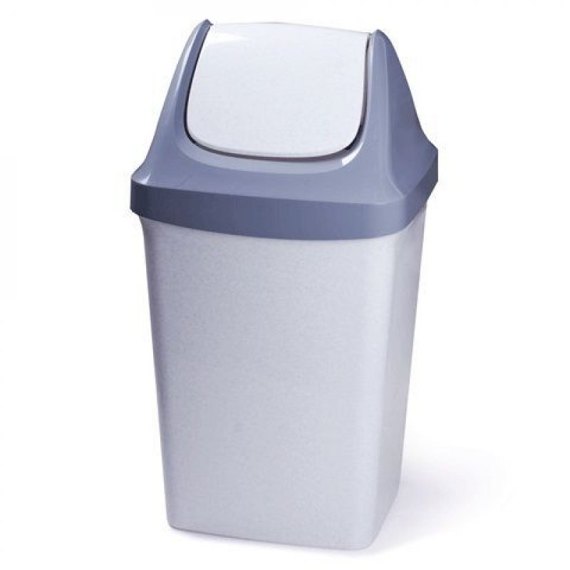 Контейнер для мусора 50л пластик серый качающаяся крышка