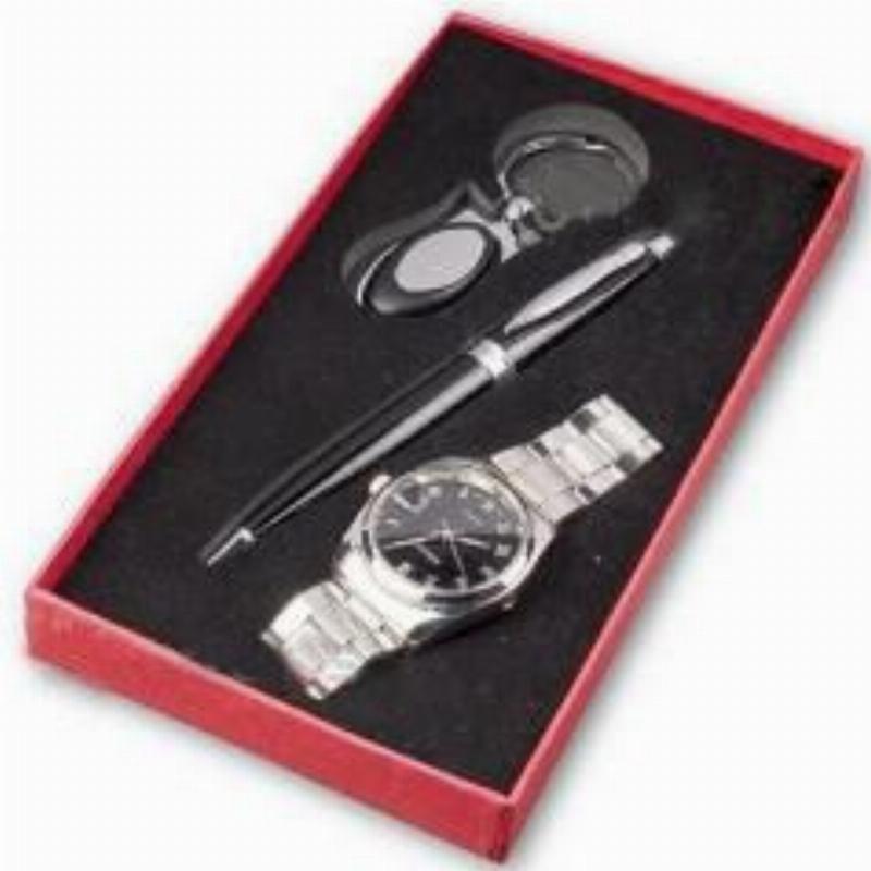 Набор подарочный ручка шариковая корпус титановый+брелок-часы круглые