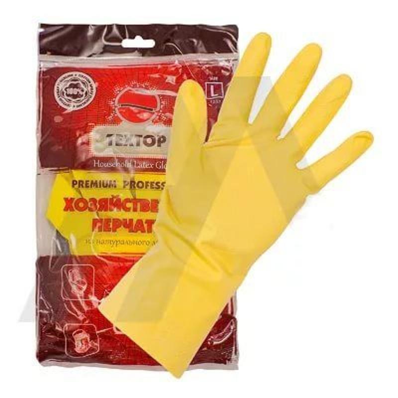 Перчатки хоз латексные с х/б напылением Техтоп L желтые инд/уп
