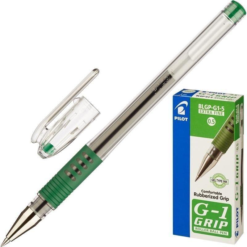 Ручка гелевая Pilot Grip 0,5мм резиновый держатель прозрачный корпус зеленая