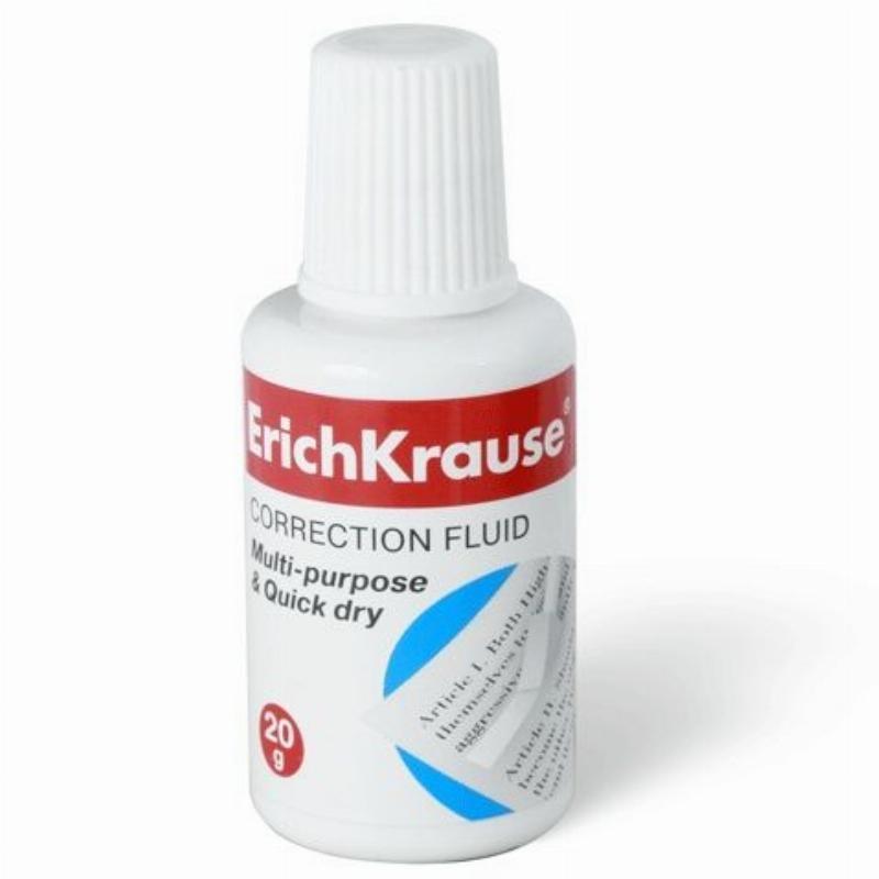 Корректирующая жидкость Erich Krause 20 мл на спиртовой основе с губкой