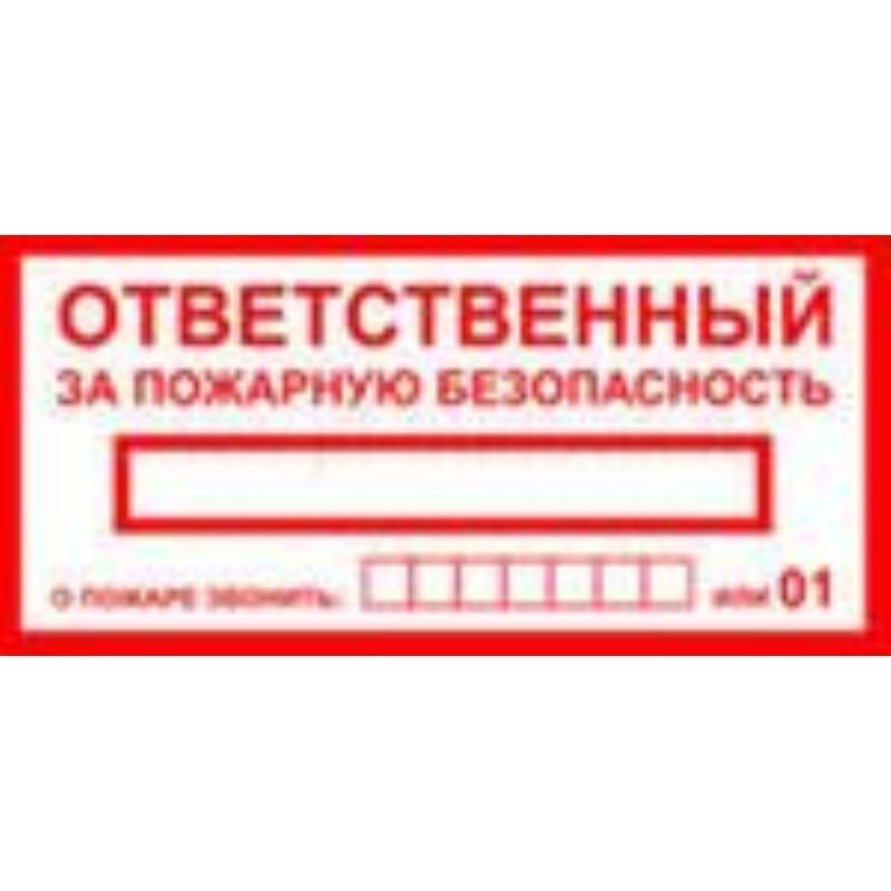 Знак вспомогательный Ответственный за пожарную безопасность 250х140мм самоклеющийся