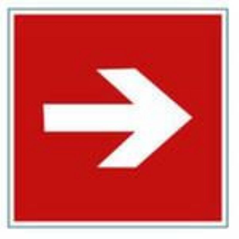 Знак пожарной безопасности Направляющая стрелка 200х200 самоклейка