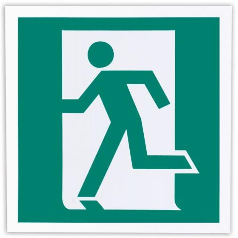 Знак эвакуационный Выход здесь левосторонний 200х200мм самоклейка