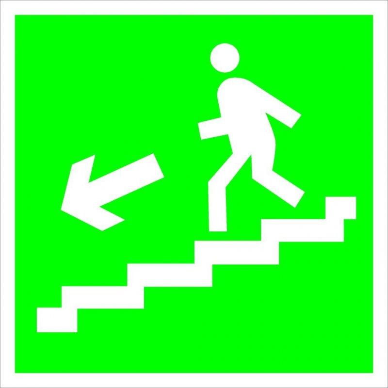 Знак эвакуационный Направление к эвакуационному выходу по лестнице Налево вниз 200х200мм самокейка