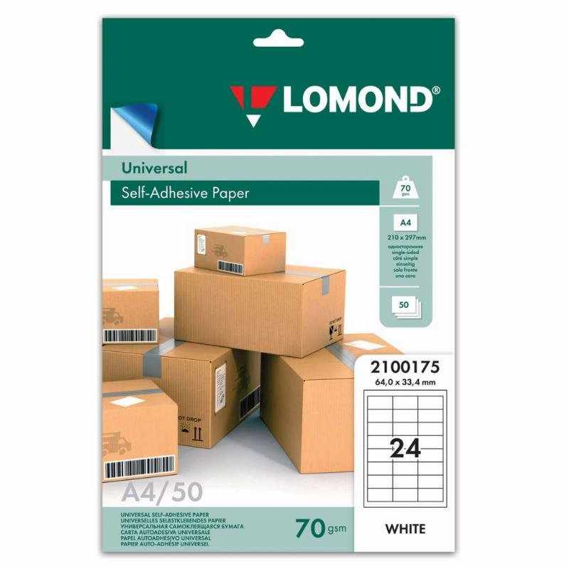 Этикетки самоклеящиеся 64,6х33,4мм 24шт белые 70г/м2 50л/уп Lomond