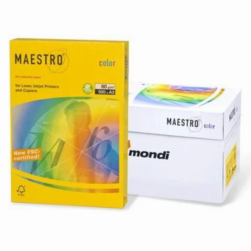 Бумага IQ/Maestro Color А3 160г/м2 250л канареечно-желтая