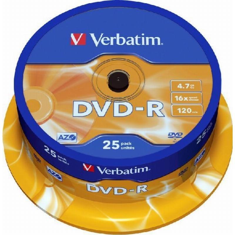 Диск DVD-R Verbatim 4.7Gb 16x туба 25шт
