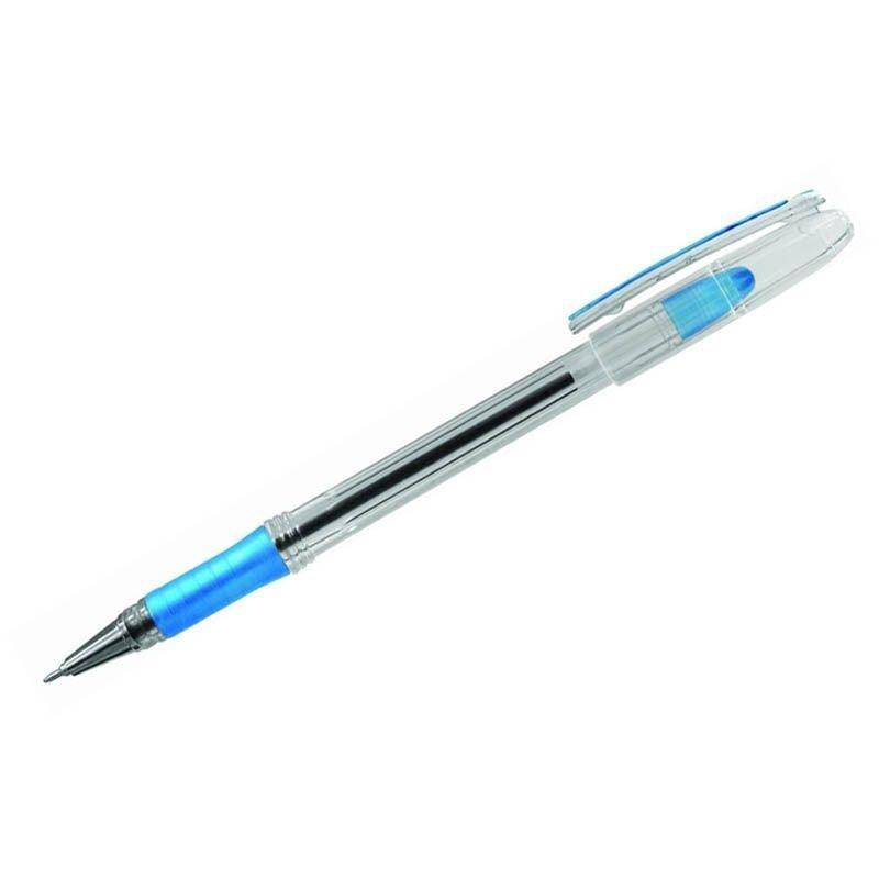 Ручка шариковая Berlingo I-10 0,4мм резиновый держатель игольчатый наконечник масляная синяя