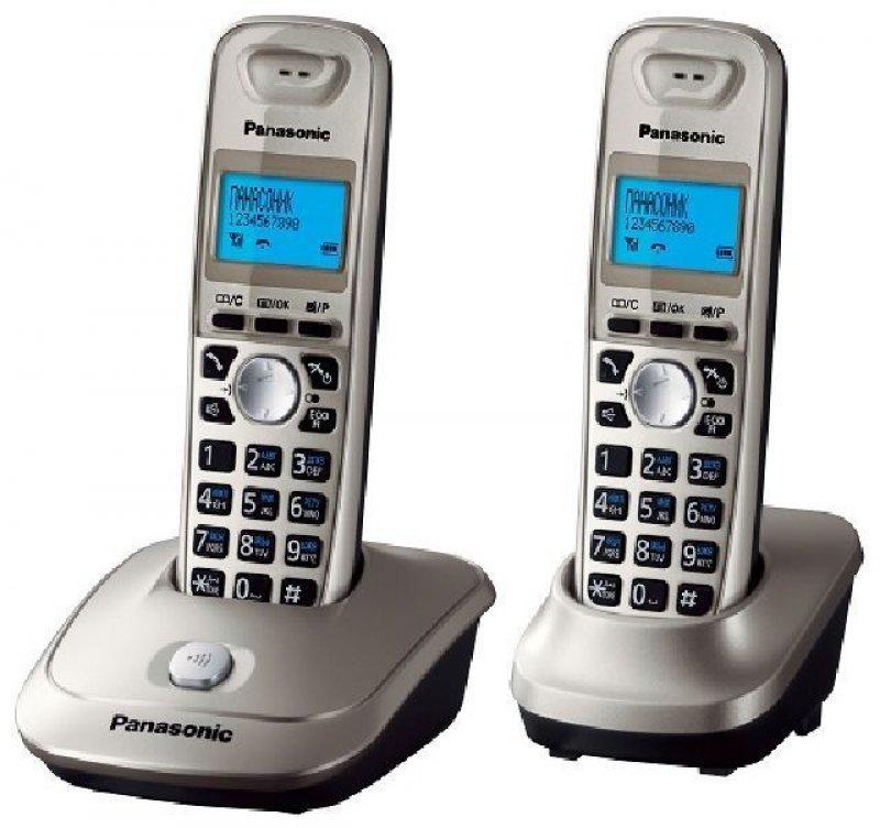 Радиотелефон Panasonic KX-TG2512RUN + доп трубка платиновый АОН 50 номеров полифония спикер