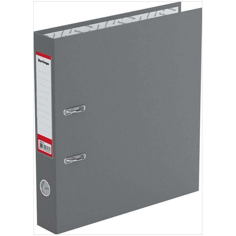 Папка-регистратор 50мм Berlingo Standard бумвинил карман серая