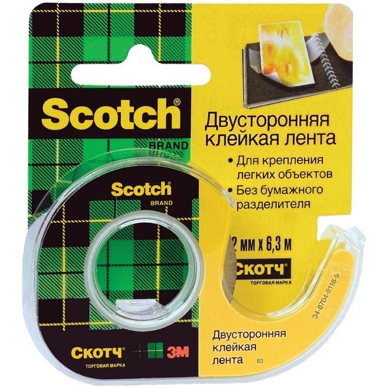Клейкая лента двусторонняя 12х6,3мм Scotch полипропилен c диспенсером