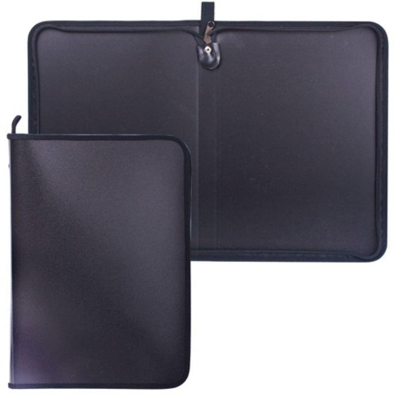 Папка для тетрадей А4 1 отд на молнии пласт черная