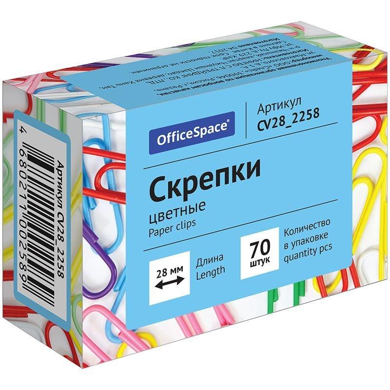 Скрепки 28мм OfficeSpace 70шт/уп пласт покрытие цветные карт коробка